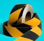 Csúszásgátló szalag -fokozott érdességű- veszélyt jelző sárga-fekete 100mm x18,3m