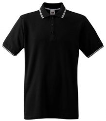 Fruit-of-the-Loom-63-032-TIPPED-galleros-polo-FEKETE-FEHeR-S-L